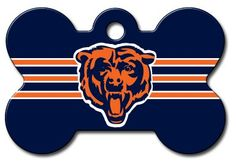 Personalized Laser Engraved 1.5 x 1 inch Chicago Bears Bone Shape Pet ID Tag - Free Tag Silencer >>> Discover this special dog product, click the image : Dog tags for pets