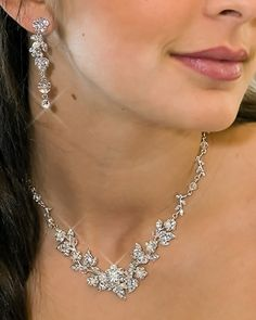 Beautiful! Crystal and Pearl Floral Vine Wedding Jewelry Set - Affordable Elegance Bridal
