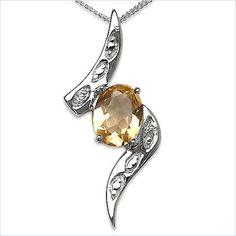 Collier/Kette mit Diamant-Citrin-Anhänger 925 Sterling Silber-1.81 Karat Jetzt bestellen unter: https://mode.ladendirekt.de/damen/schmuck/halsketten/silberketten/?uid=9375b317-f45d-5fad-8ce3-6013bcaf3f17&utm_source=pinterest&utm_medium=pin&utm_campaign=boards #schmuck #halsketten #uhren #silberketten Bild Quelle: www.rakuten.de