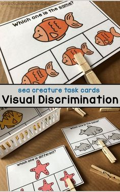 Ergotherapie Sea Creature Visual Discrimination Task Cards for preschool, pre-k, and kindergarten. Preschool Lessons, Preschool Learning, In Kindergarten, Pre K Activities, Classroom Activities, Education Positive, Early Literacy, Task Cards, Teacher