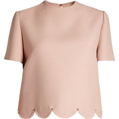 Valentino Rockstud-embellished scalloped-hem wool-blend top ($1,450) ❤ liked on Polyvore featuring tops, pink, shirts, scalloped tops, boxy shirt, pink top, nude shirt and scalloped shirt
