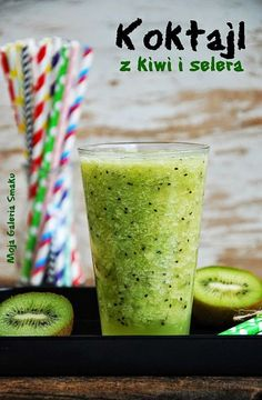 Kiwi and Celery Smoothie. Loaded with Kiwi and Celery. (in Polish) Healthy Green Smoothies, Yummy Smoothies, Smoothie Drinks, Smoothie Diet, Smoothie Recipes, Celery Smoothie, Best Probiotic, Kiwi, Cocktail Recipes
