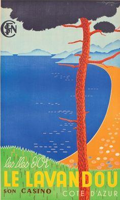 """Travel poster by G. Serre, ca 1938, SNCF Côte d'Azur, Les Îles d'Or, Le Lavandou """"Son casino"""""""