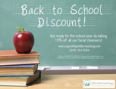 Put your best face forward this year! Take advantage of this month's discount today! #skincare #august #promo #discount #dermatology #facewash #cleanser #lagunaniguel #altadermatology #schoolyear #backtoschool #alisoviejo #danapoint #orangecounty #missionviejo #laderaranch #lagunahills #lagunawoods #laderaranch  www.lagunanigueldermatology.com