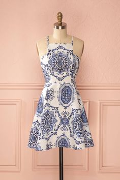 Haruko - Ivory and blue print circle dress
