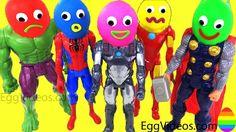 Play Doh Super Hero Learn Colors Video for Children SpiderMan Hulk Finger Family Song Nursery Rhymes