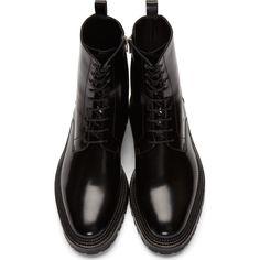 Yang Li: Black Leather Lace-Up Boots