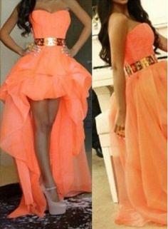 USD$169.20 - Sexy A-line Long Prom dresses Sweetheart Asymmetrical Gold Belt Girls Hi-lo Evening gown - www.27Dress.com