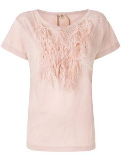 T-Shirt Feather Collar Blush Summer Sale, Feather, Blush, V Neck, T Shirt, Collection, Tops, Women, Fashion