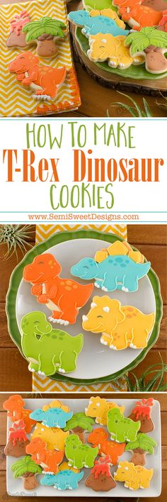 A detailed tutorial on how to decorate T-Rex dinosaur cookies with royal icing. Sturdy cookie cutter available for purchase! (christmas recipes for kids royal icing) Dinosaur Cookies, Dinosaur Cake, Dinosaur Birthday, Dinosaur Party, 3rd Birthday, Dinosaur Cookie Cutters, Girl Dinosaur, Iced Cookies, Cute Cookies