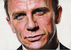 Daniel CRAIG - Colored pencil drawing by French artist VUILLEMIN Corinne. #CelebrityColoredPencilDrawings