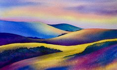 Landscape in watercolour By Raewyn Harris www. Soft Pastel Art, Abstract Watercolor, Watercolour, Maori Art, Science And Nature, Illustration Art, Illustrations, The Locals, Art Pictures