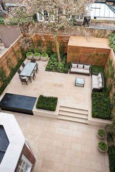 Ideas Concrete Patio Landscaping Ideas Flower Beds For 2019 Contemporary Garden Design, Small Garden Design, Patio Design, Landscape Design, Landscape Stairs, Front Design, Garden Modern, Terrace Design, Contemporary Chairs