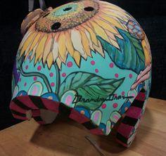 A corrective helmet I hand painted for my Granddaughter. Helmet, Hand Painted, Fine Art, Hockey Helmet, Helmets, Visual Arts