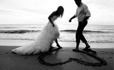 I love the idea of going barefoot and drawing the heart together to symbolize their mutual love.