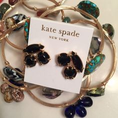 Kate Spade black and gold geometric earrings Heavy and substantial, these geometric post earrings will dress up all of your outfits- from day, to work, to evening. Brand-new with tags kate spade Jewelry Earrings