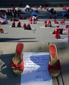 Protest with missing women shoes, Juarez City, Mexico.  Hundreds of red shoes were released on Monday outside the offices of the State Government of Ciudad Juarez to protest the disappearance of women in the border of the city.  Ciudad Juarez, which since 2009 is hit by a wave of violence linked to drug trafficking, was notorious in the 1990s and early 2000s by the brutal murders of women sexual connotations.  According to various NGOs, some 400 women were murdered in Ciudad Juare