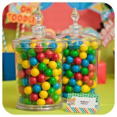 Colorful gumballs at a Mickey Mouse Clubhouse birthday party! See more party ideas at CatchMyParty.com!