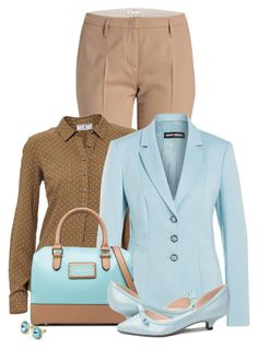 Office outfit: Light Brown - Light Blue by downtownblues on Polyvore