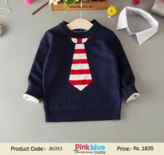 Dress your baby is this cozy and soft kids' pullover for winters. This exclusive winter sweater in dark blue color comes with red and white tie print and detachable collars making it an awesome party wear for children in India. Pick this unique winter ap Boys Winter Clothes, Casual Fashion Trends, Dark Blue Color, Baby Warmer, Wedding With Kids, Boy Blue, Winter Sweaters, Baby Boy Outfits, Long Sleeve Sweater