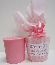 It's a Girl - Baby Powder Scented Soy Votive Baby Shower Favors by lea