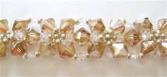 Free DIY tut - 45 6mm BI peach, 36 3mm clear rondelle, 11/O galv silver - peach-and-platinum-crystal-bracelet