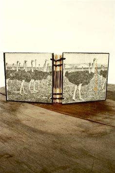ostrich - hand-stitched mini journal