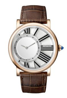 Cartier Rotonde Mysterious Hours Rose Gold Men's watch equipped with Swiss made Cartier 9981 MC calibre manual movement. The 42.00 mm rose gold round case features a white galvanised guilloché dial. F