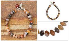 Agate Quartz Garnet Chalcedony Beaded Hill Tribe Bracelet - Luxurious | NOVICA