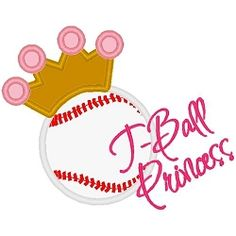 T-Ball Princess Applique - 3 Sizes! | Words and Phrases | Machine Embroidery Designs | SWAKembroidery.com