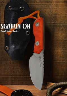 SGAHUN OH SPECS: Neck Knife with Screw Driver D2 Premium Steel 4 mm. thick. HT 60 - 61 HRC ( Double CRYO -196º C treatment ). Overall Length: 170 mm. Blade: 80 mm. Full Flat Grinding Weight: 100 grs. Handle: G10 Orange Hunting Scuplted Hardware: Stainless Steel A4 Torx Finish: Sandblasting Sheath: Black Keydex and Paracord Made in Spain 100% Hand made by Noel Sela Designs. 150 €. Worldwide shipping included...!