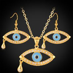Blue Evil Eyes Charms Pendant Necklace And Earring Set For Women Gold Plated Rhinestone Fashion Turkish Jewelry Sets PE1186