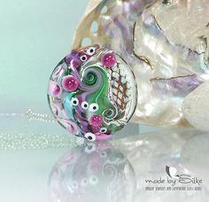 Handmade lampwork bead focal  lentil  SRA  art by calypsosbeads, $33.00