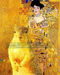 This modern art print of the Gustav Klimt and a squirrel photo bombing the picture Adele Bloch-Bauer I. The squirrel photo bomb art can be found @etsy on takumiparkwest in different sizes and is a photo print. The squirrel art is $15.88 and up. #squirrelphotobomb #yellowart