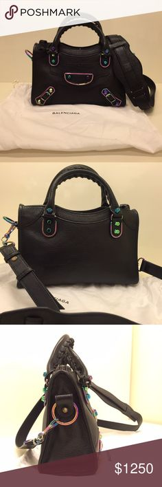 """BALENCIAGA METALLIC EDGE IRIDESCENT MINI CITY BALENCIAGA CLASSIC METALLIC EDGE IRIDESCENT MINI CITY                             Grained goatskin bag with metal-edged oil slick iridescent hardware, including stud and buckle detail. Tote handles with 4"""" drop; removable, adjustable shoulder strap with 20.1"""" drop. Zip top. Exterior zip pocket. Cotton-lined interior with zip pocket and Balenciaga embossed leather tag. 6.3""""H x 9.3""""W x 3.5""""D. Made in Italy. Balenciaga Bags Crossbody Bags"""