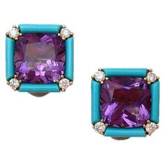 Seaman Schepps turquoise, amethyst and diamond earclips, , also from Neil Marr