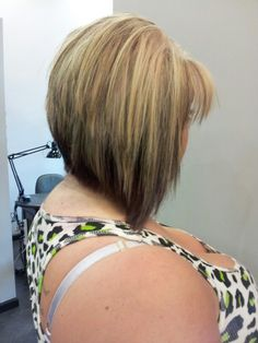 Partial blonde highlight and lowlight with graduated bob haircut
