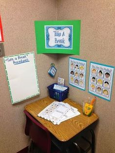 This is such a great idea to have in the classroom for those times when a student needs to take break and reflect on his/her behavior.