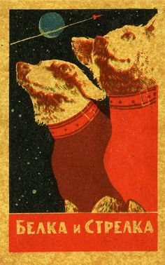 Creative Space: Illustrations and Photos: Belka and Strelka, Soviet space dogs Soviet Art, Soviet Union, Laika Dog, Belka And Strelka, Socialist Realism, Matchbox Art, Space Race, Dog Id, Retro Futurism