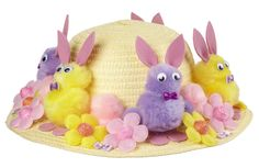 Easter hats are a traditional part of Easter celebrations at primary school. No Easter celebration would be complete without the Easter bonnet. If you are confused about how to create your lovely kid's bonnet, this may save your time. Pom Poms, Easter Bunny Eggs, Easter Bonnets, Bunnies, Easter Hat Parade, Easter Quotes, Diy Ostern, Easter Activities, Easter Celebration