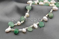 925 Sterling Silber Perlen Halskette, Natürliche kultivierte Süßwasserperlen, mit Grüner Aventurin, Sterling Silber Verschluss, natürlich, 5...