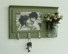 New Design...Shabby Chic Wood Picture Frame...Key Organizer....Mason Jar Shelf..Made to Order on Etsy, $37.00