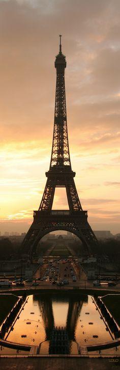 The EIFFEL at sunrise with beautiful reflection.....Paris! So amazing! Enchanting! Wonderful! Everything!