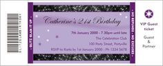 Glitz Glam birthday ticket invitation - download a PDF to edit and print at home.