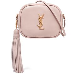 Saint Laurent Monogramme Blogger leather shoulder bag ($995) ❤ liked on Polyvore featuring bags, handbags, shoulder bags, pastel pink, pink handbags, cell phone purse, white leather handbags, leather shoulder bag and white purse