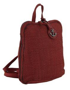 Lederrucksack Soft Weaving 2 Red Harbour2nd Deborah rot Laptop Rucksack, Weaving, Red, Small Backpack, Red Leather, Navy Blue, Leather Cord, Get Tan, Loom Weaving