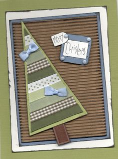 Christmas Card. I like the little lengths of ribbon for making the tree, must start to collect green ribbons.