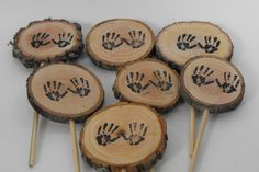 Woodland Baby Shower CupCake Topper/ Rustic Tree Branch/ Baby Hands/Cupcake toppers/Woodland Baby Shower - pinned by pin4etsy.com