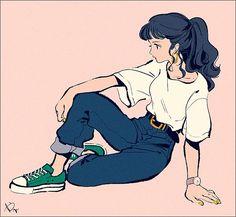 Sketch Hair Reminds me of a long-haired sailor mercury Art And Illustration, Character Illustration, Animal Illustrations, Cartoon Kunst, Cartoon Art, Cartoon Memes, Pretty Art, Cute Art, Bel Art