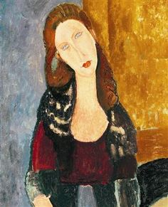 Amedeo Modigliani Portrait of Jeanne Hebuterne painting is shipped worldwide,including stretched canvas and framed art.This Amedeo Modigliani Portrait of Jeanne Hebuterne painting is available at custom size. Amedeo Modigliani, Modigliani Paintings, Italian Painters, Italian Artist, Rembrandt, Matisse, Famous Artists, Pablo Picasso, Monet